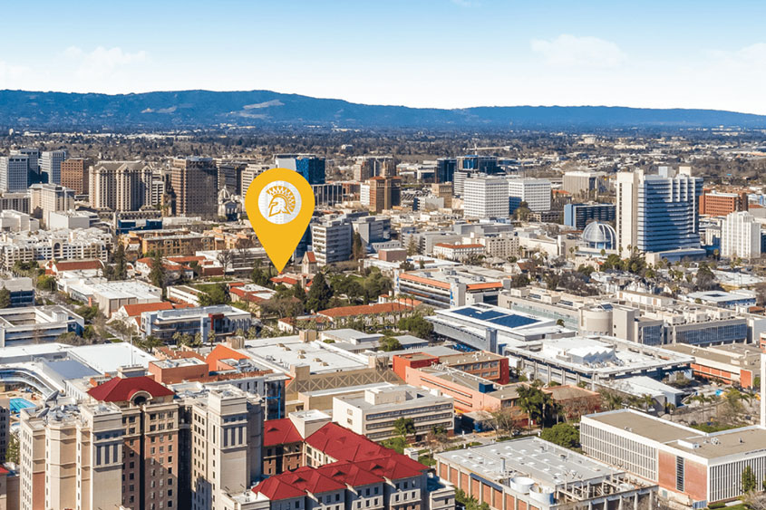 Downtown San Jose with location pin over SJSU.