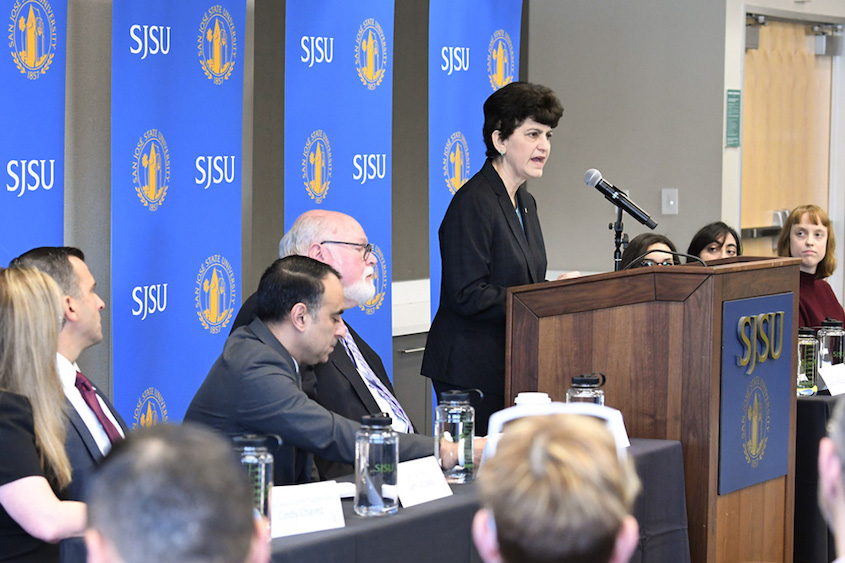 President Mary Papazian speaking at a press conference for comprehensive housing solutions.
