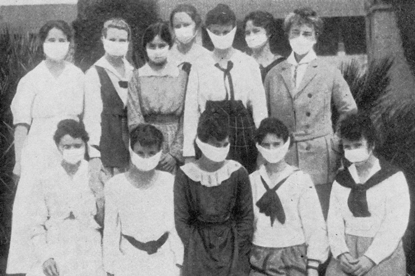 Students at the San Jose Normal School wore masks during the 1918 Spanish flu pandemic.