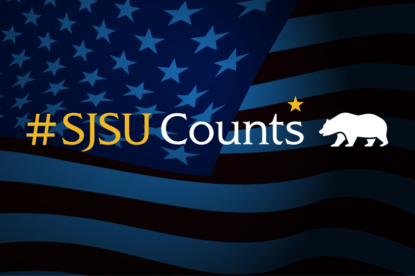 #SJSU Counts with California state bear graphic.