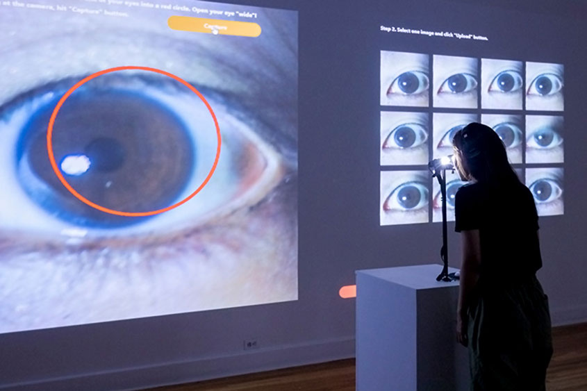 "JSU Assistant Professor of Design Yoon Chung Han's  piece, ""Eyes,"" which is created using biometric data."