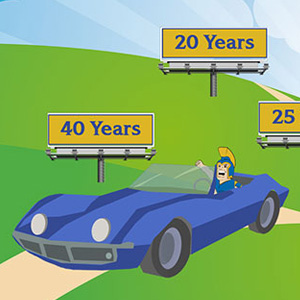 A cartoon of Sammy Spartan in a blue car riding down a road with signs indicating years of service.
