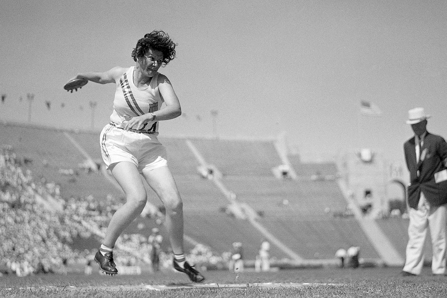 Margaret Jenkins competing in the 1928–1932 olympics.