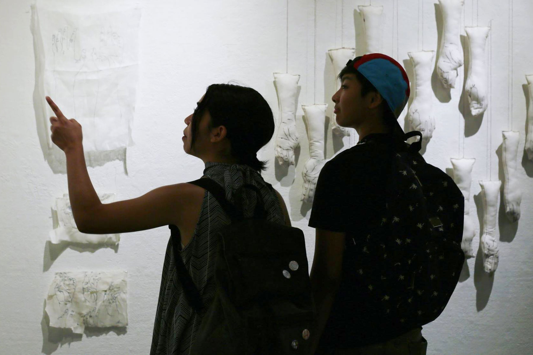 Students at the Natalie and James Thompson Art Gallery.
