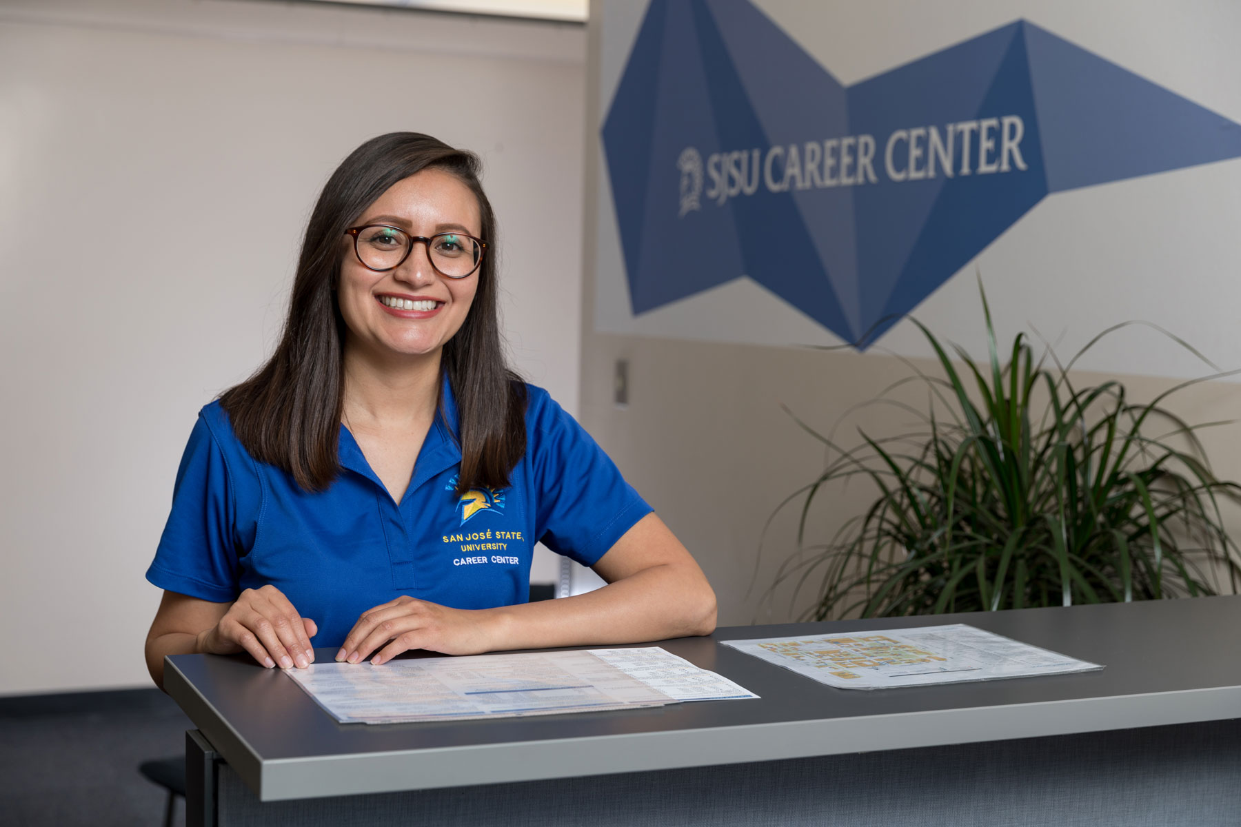 Alumni, Sandra Deleon at the Career Center.