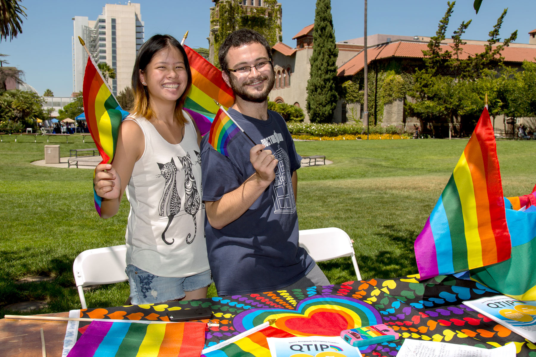 Students promoting the Pride Center, an SJSU Student Organization.