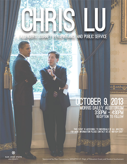 President Obama stands with Chris Lu.