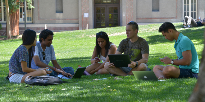 Students Meeting on Lawn
