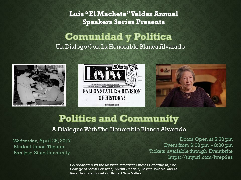 Politics and Community event flyer