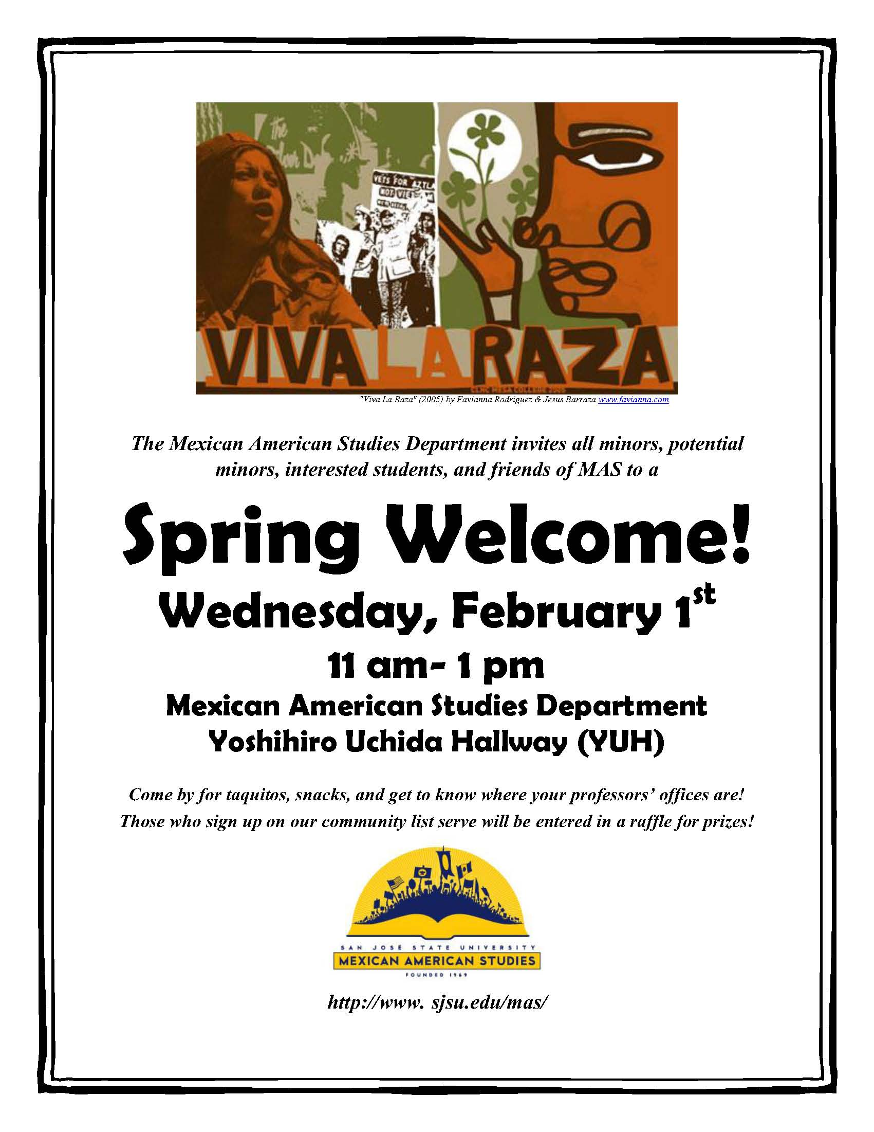 MAS Spring Welcome flyer