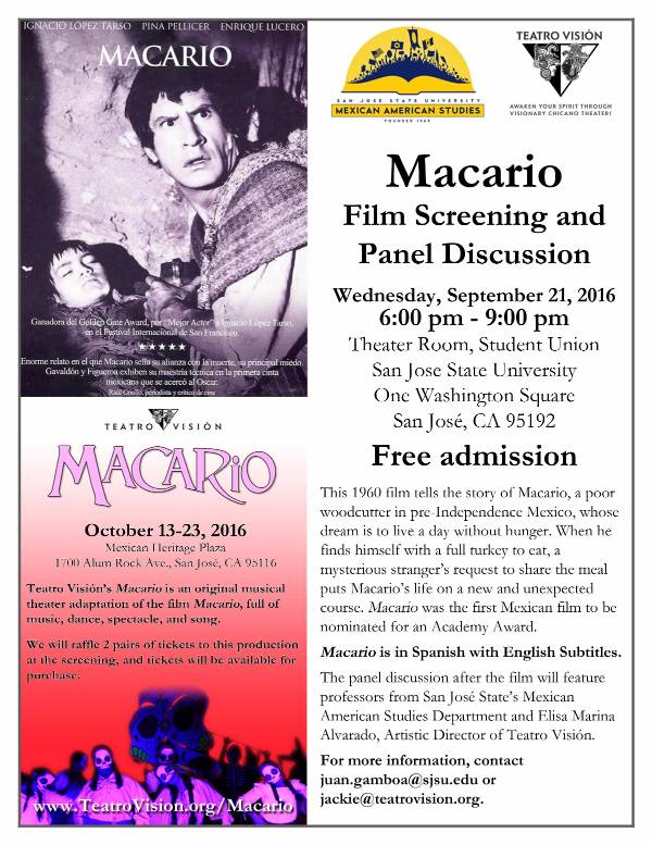 Flyer for Macario Film Screening and Panel Discussion