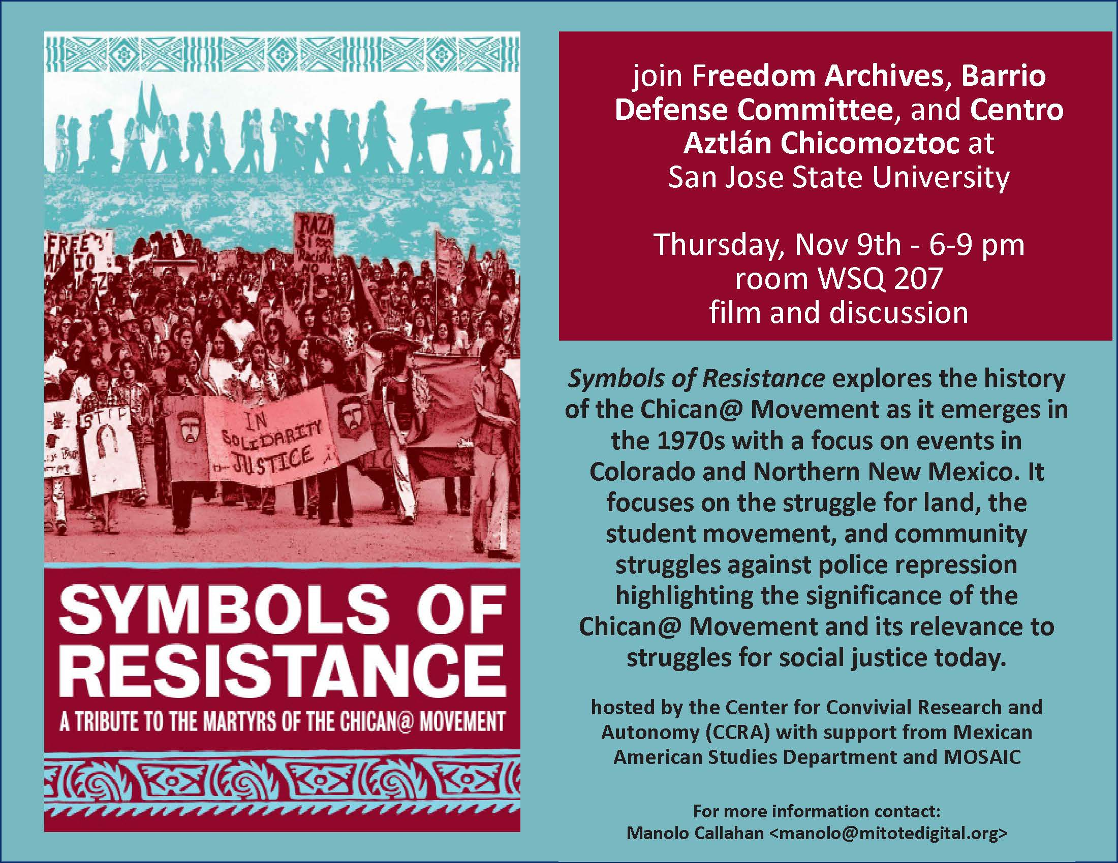 Flyer for Symbols of Resistance film and discussion