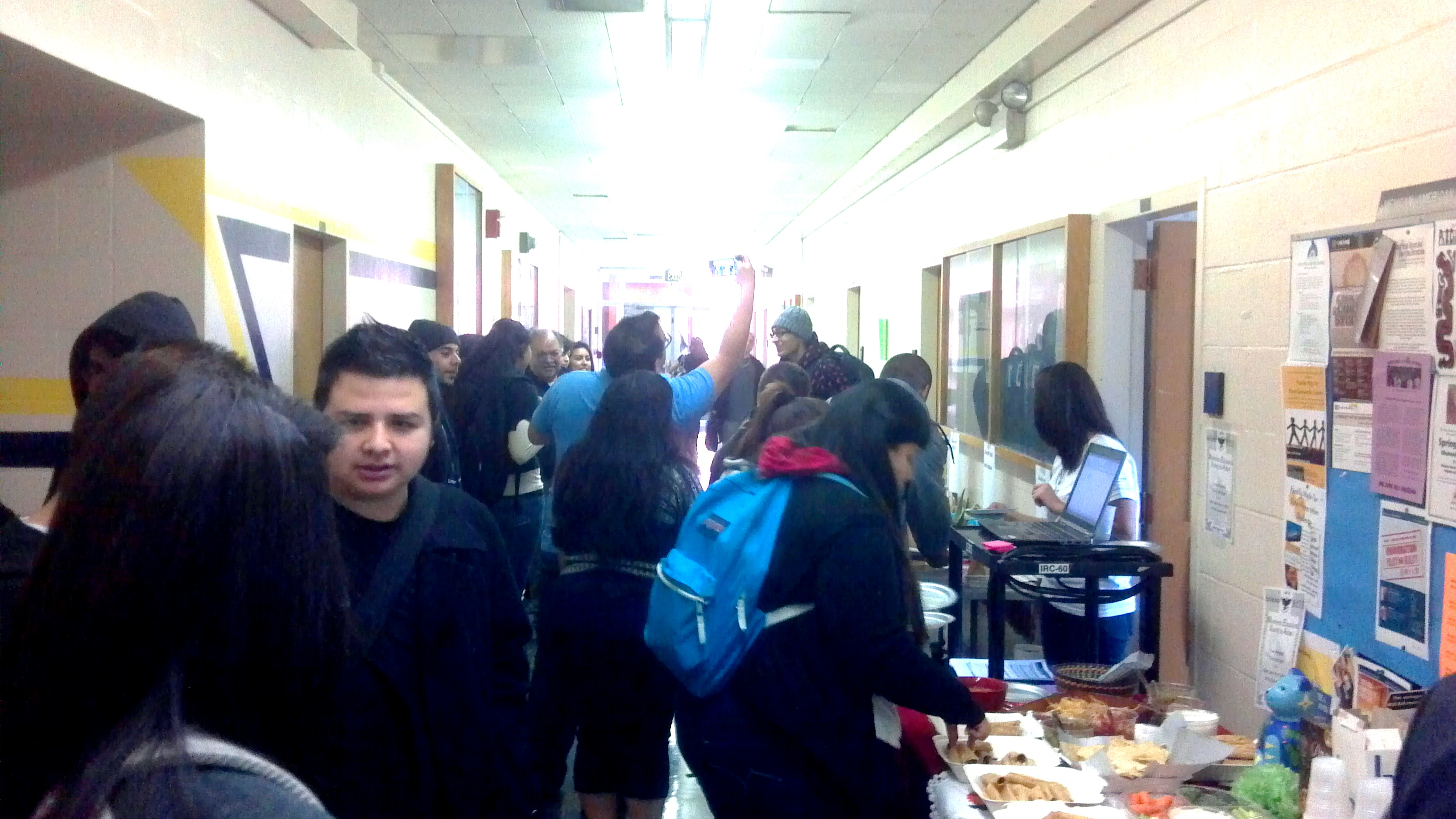 MAS Welcome Hallway with students
