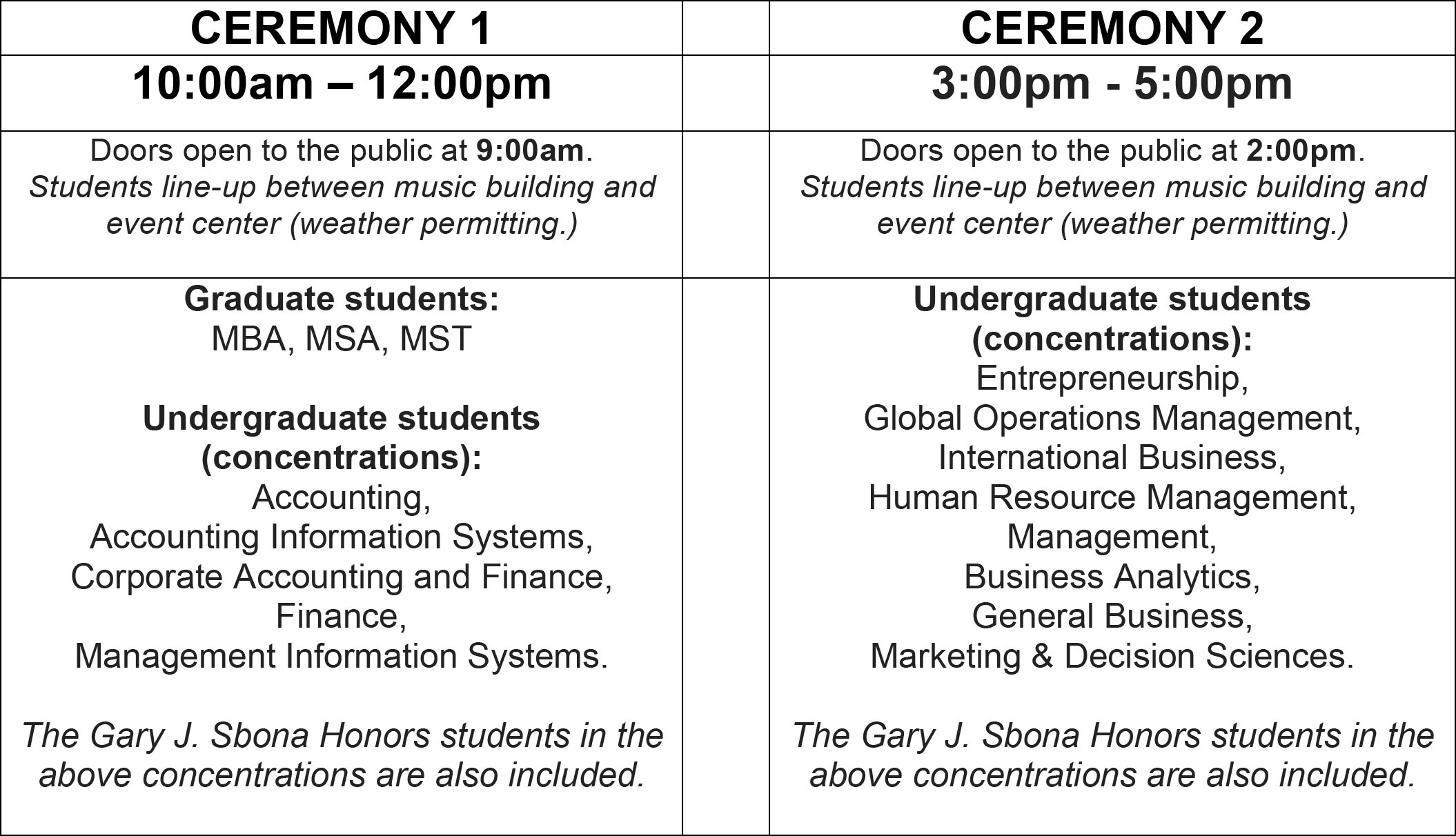 Convocation Schedule