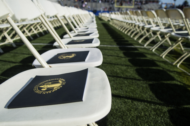 Commencement books on each commencement participants chair.