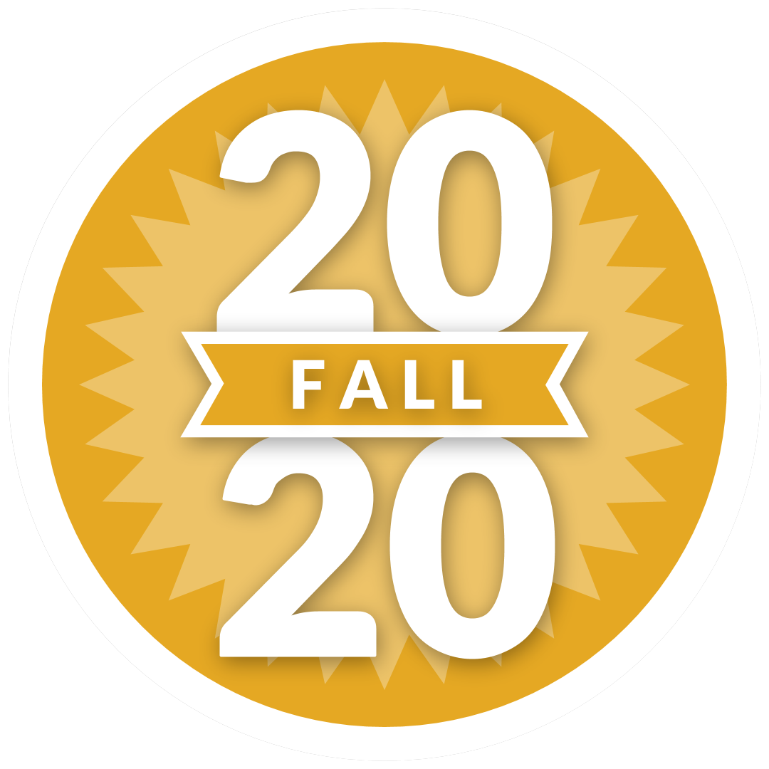 "round icon with ""Fall 2020"" in it"