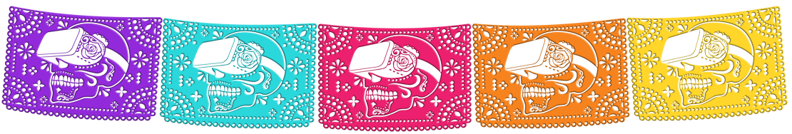 Papel Picado of a skull wearing VR goggles.
