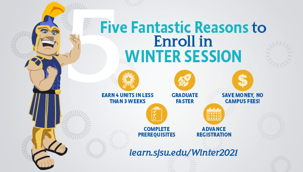 Sammy Spartan with 5 Fantastic Reasons to Enroll in Winter Session