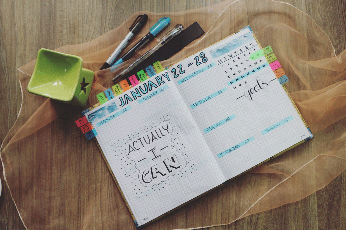 "Weekly handwritten calendar with text, ""Actually I can."""