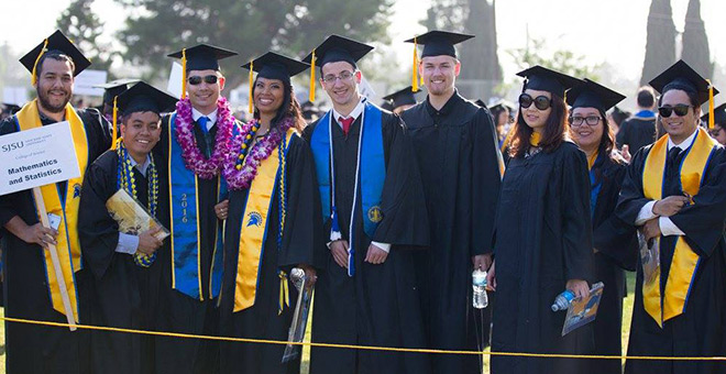 SJSU students at commencement 2016