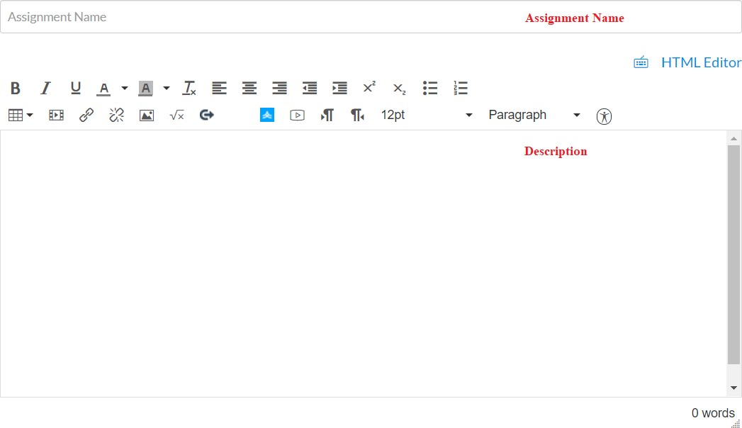 Assignment Editor Window