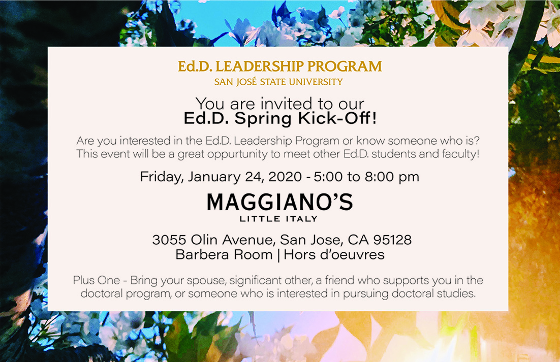 Sjsu Fall 2020 Registration.Ed D Leadership Program San Jose State University