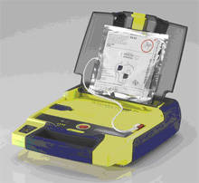 Automated External Defibrillator (AED), case open