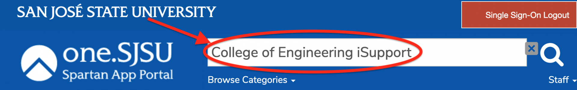 enter College of Engineering iSupport in the search box.
