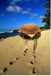 Image of a running hamburger
