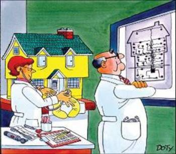 Cartoon Image of Two Doctors examining a house