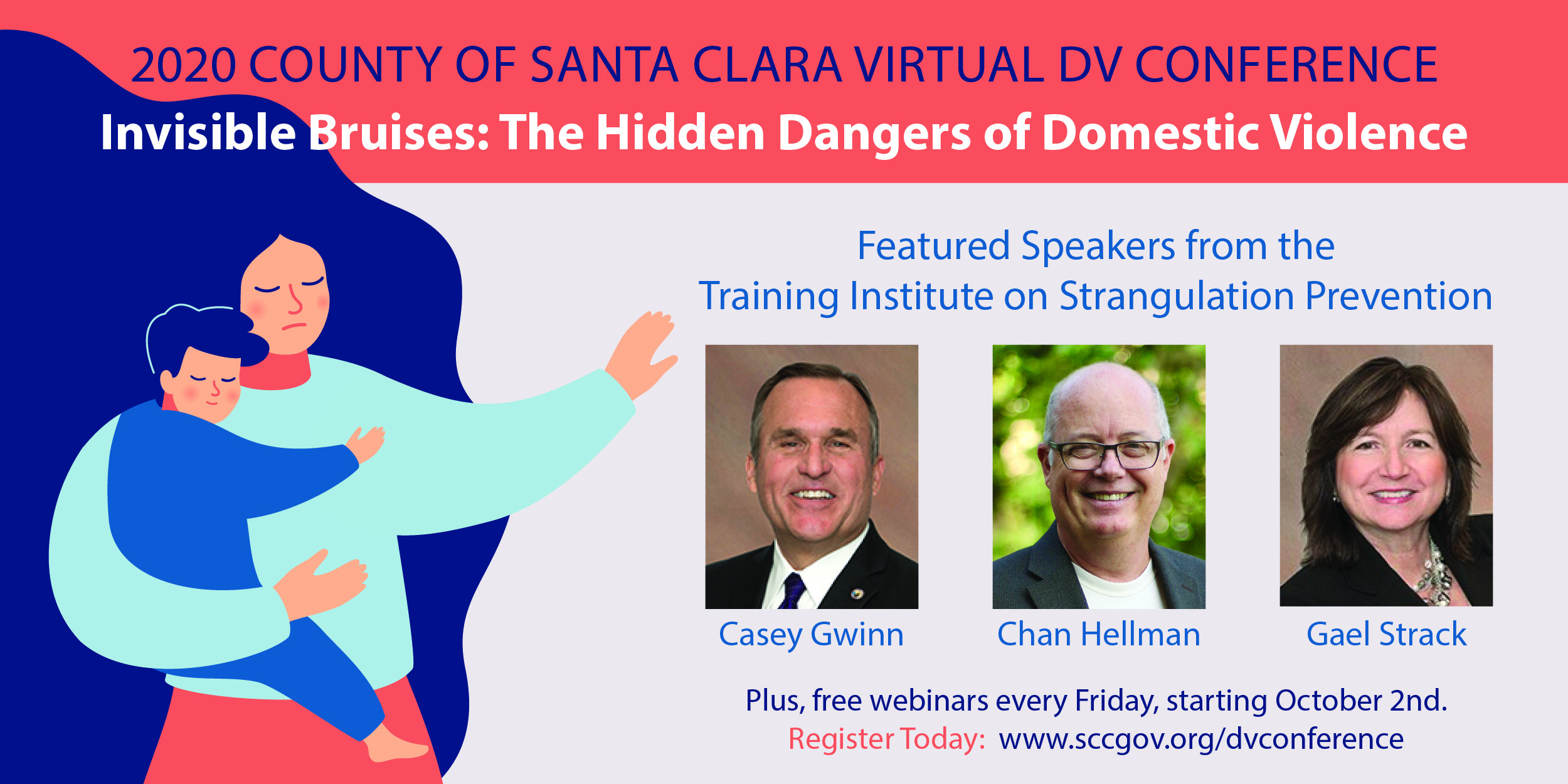 Santa Clara County Virtual DV Conference, Promotion flyer with featured speakers