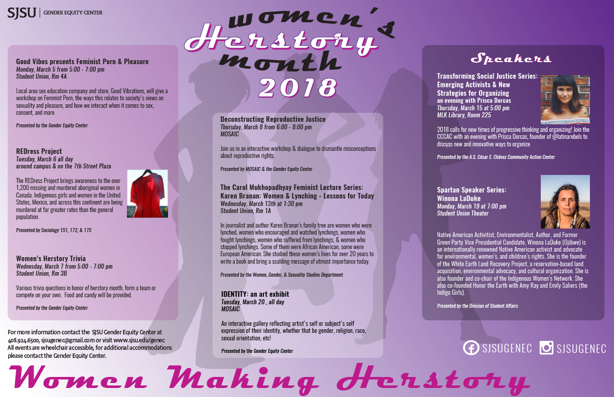 Calendar of events for Women's Herstory Month