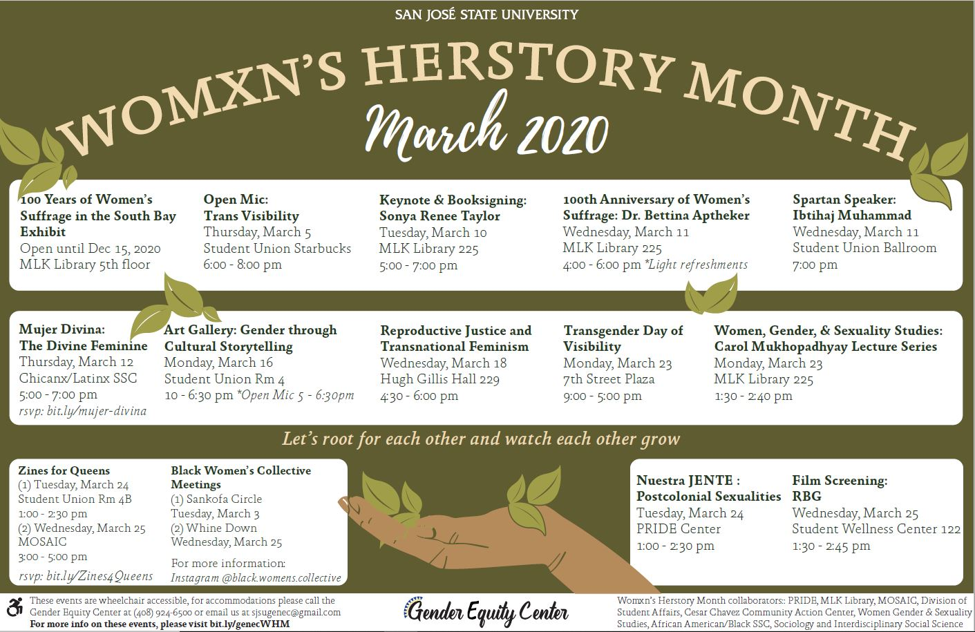Womxn's Herstory Month calendar of events.