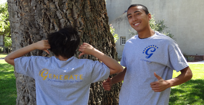 Students wearing GENERATE t-shirts