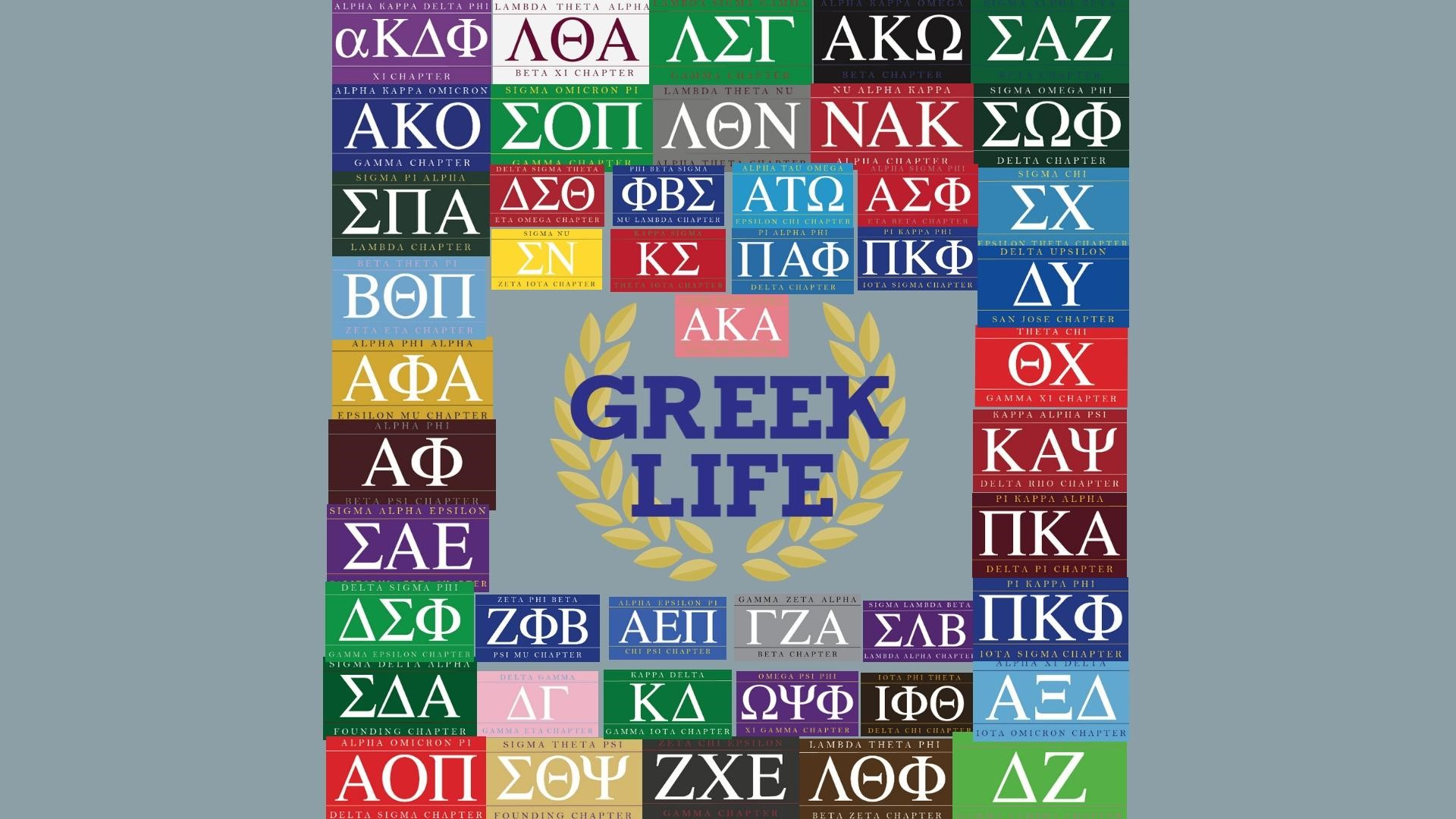 Greek Life graphic with colorful boxes for all fraternity and sorority chapters