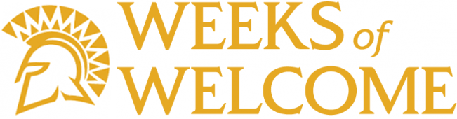 Weeks of Welcome graphic with Spartan logo