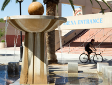 A photo of the SJSU Event Center fountain.