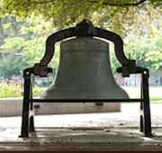A photo of the bell in the Rose Garden