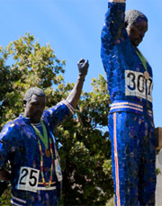 A picture of the Olympic statues on the SJSU campus.