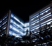 A photo of the MLK library at night