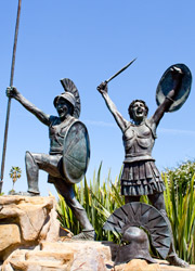 A picture of the Spartan Statues in the blue sky