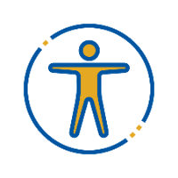A circle with a stick figure human standing with arms and legs extended.