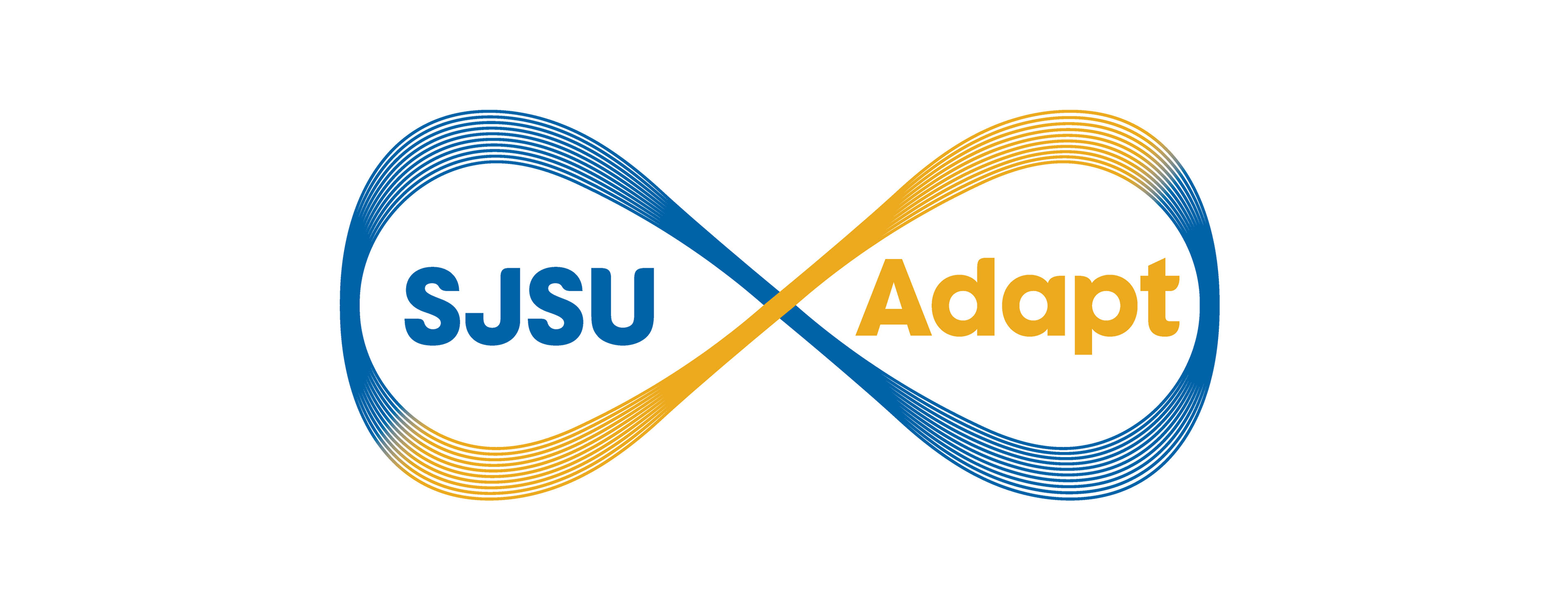 Blue and gold infinity symbol with SJSU Adapt within each loop.