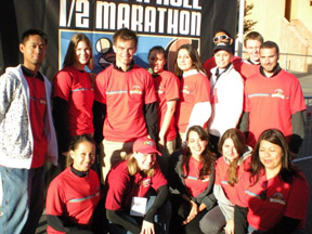 kin students working at rock n roll marathon