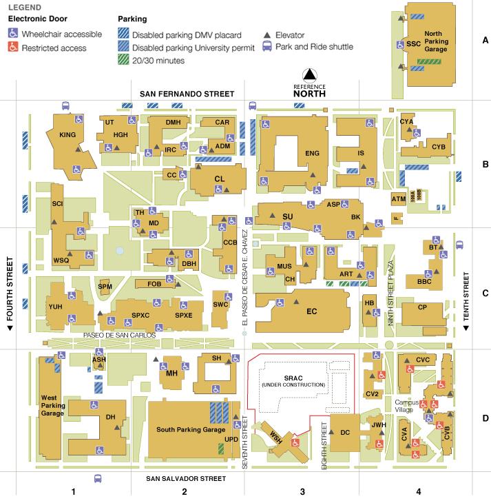 Sjsu Campus Map Main Campus Map | San Jose State University Sjsu Campus Map