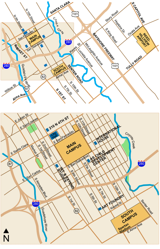 Map of off-campus facilities and downtown.