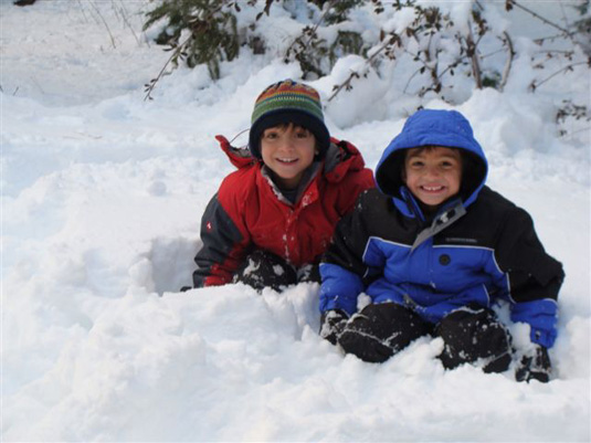 Seth and Elijah in the snow!
