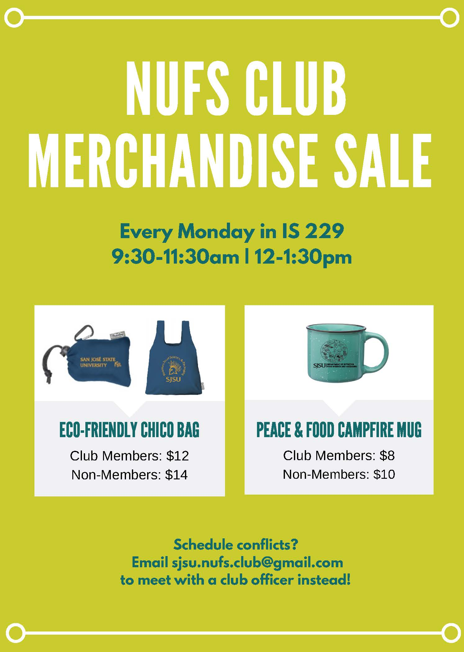 Nutrition and Food Science Club merchandise sale. Every Monday in I.S. 229 9:30 to 11:30 a.m and 12 to 1:30 p.m.