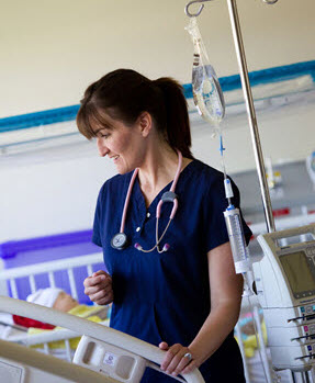 Nursing student, Vanessa Brewer, at bedside