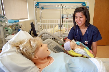 Nursing student with simulated patients